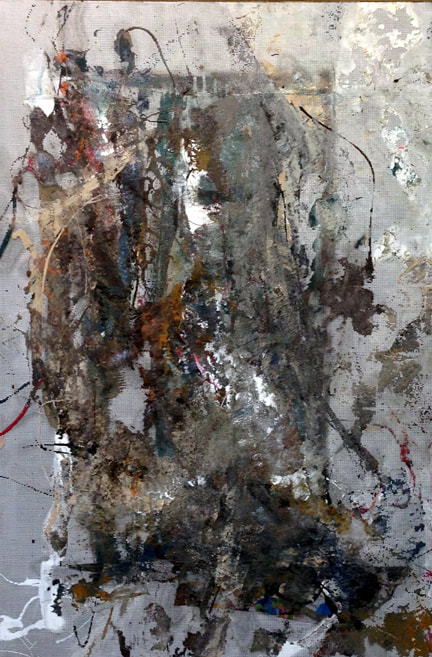 Abstract textured mixed media collage using earth tones layered with paint paper and metal on screen